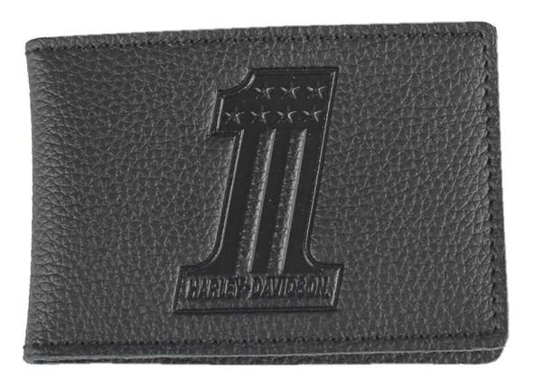 Harley-Davidson Men's Embossed #1 Logo Leather Duo-Fold Wallet XML3863-BLACK - Wisconsin Harley-Davidson