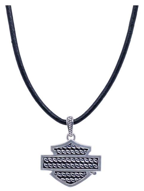 Harley-Davidson Men's Sterling Silver Rope Bar & Shield Necklace HDN0370-22 - Wisconsin Harley-Davidson