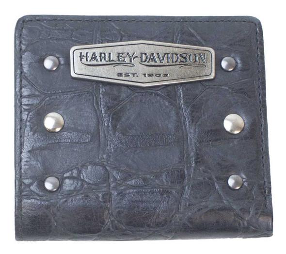 Harley-Davidson Women's Croco Mini Leather Bi-Fold Wallet, Black LC7491L-BLACK - Wisconsin Harley-Davidson