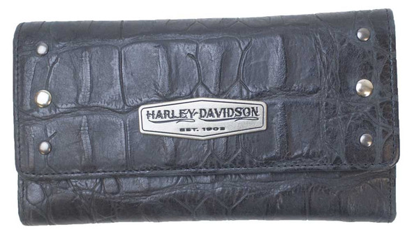 Harley-Davidson Women's Croco Tri-Fold Clutch Leather Wallet LC7483L-BLACK - Wisconsin Harley-Davidson