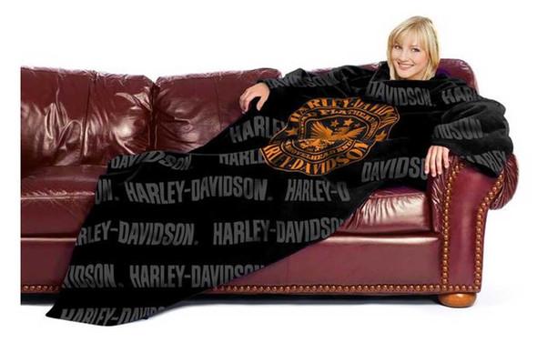 Harley-Davidson Punk Comfy Adult Throw Blanket w/ Sleeves, Black NW314849 - Wisconsin Harley-Davidson