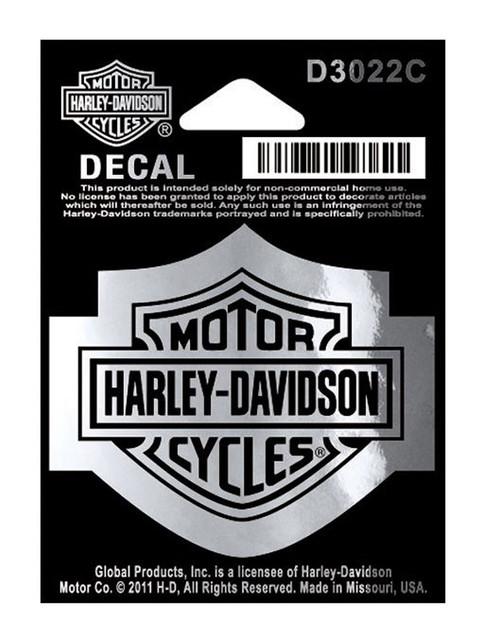 Harley-Davidson Bar & Shield Logo Chrome Decal, SM 2.25 x 1.75 inches D3022C - Wisconsin Harley-Davidson