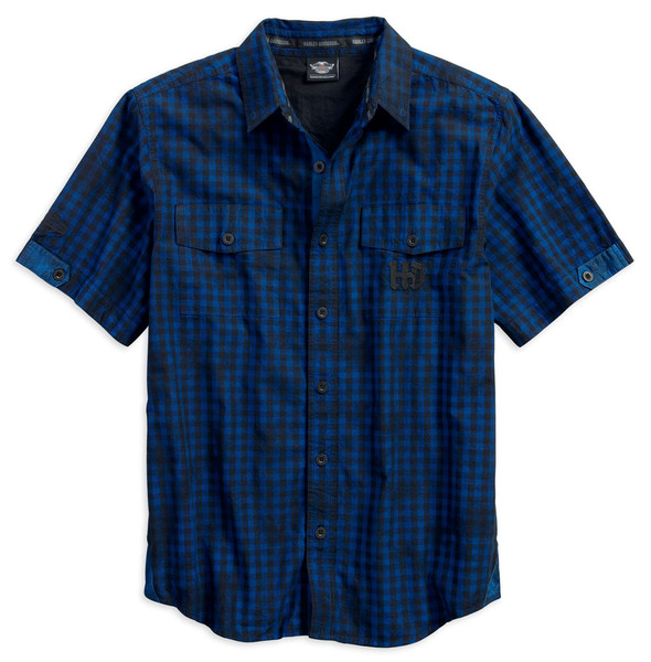 Harley-Davidson Men's Cloud Wash Plaid Short Sleeve Woven Shirt, Blue 96606-17VM - Wisconsin Harley-Davidson