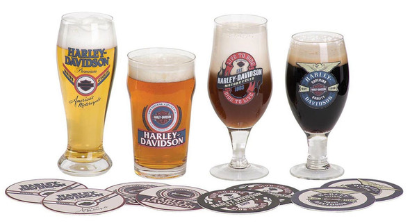Harley-Davidson Logo Craft Beer Glass Set w/ Matching Coasters HDL-18771 - Wisconsin Harley-Davidson