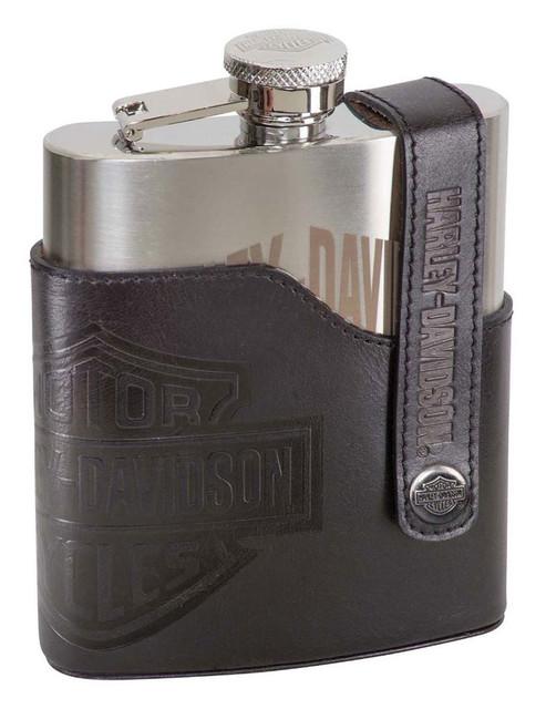Harley-Davidson Bar & Shield Laser Engraved Flask, Stainless Steel HDL-18572 - Wisconsin Harley-Davidson