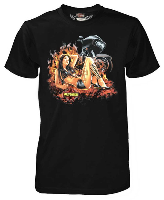 Harley-Davidson Men's Furious Flames Short Sleeve T-Shirt, Solid Black 5503-HC9A - Wisconsin Harley-Davidson