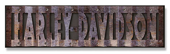 Harley-Davidson Cut-Out Corrugated Wood/Metal Sign Hardboard CU107-COR-HD-HARL - Wisconsin Harley-Davidson