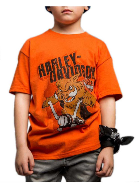 Harley-Davidson Little Boy's Handcrafted Hog Short Sleeve Tee, Orange - Wisconsin Harley-Davidson