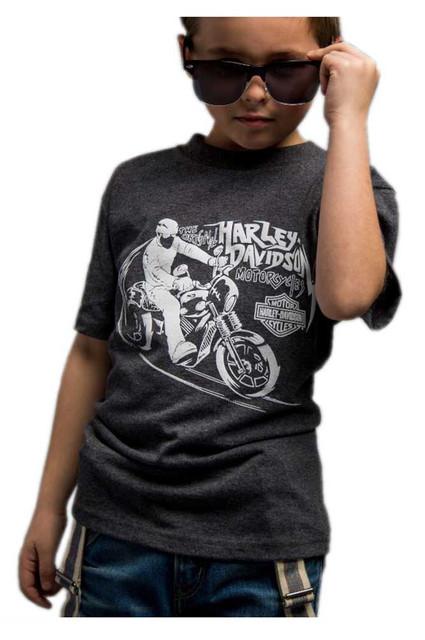 Harley-Davidson Big Boy's Glow in the Dark Short Sleeve T-Shirt, Charcoal - Wisconsin Harley-Davidson