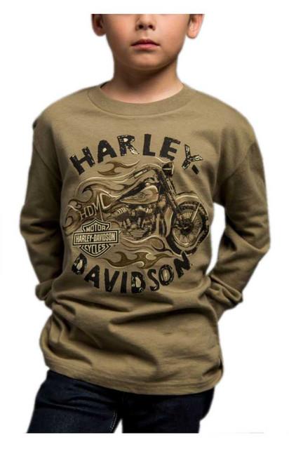 Harley-Davidson Big Boy's Arriving Safely Long Sleeve Crew Shirt, Green - Wisconsin Harley-Davidson