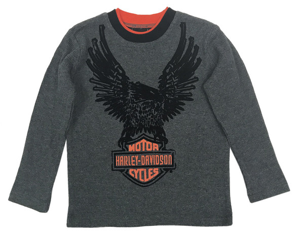 Harley-Davidson Little Boys' Eagle Thermal Long Sleeve Shirt, Dark Gray 1073529 - Wisconsin Harley-Davidson