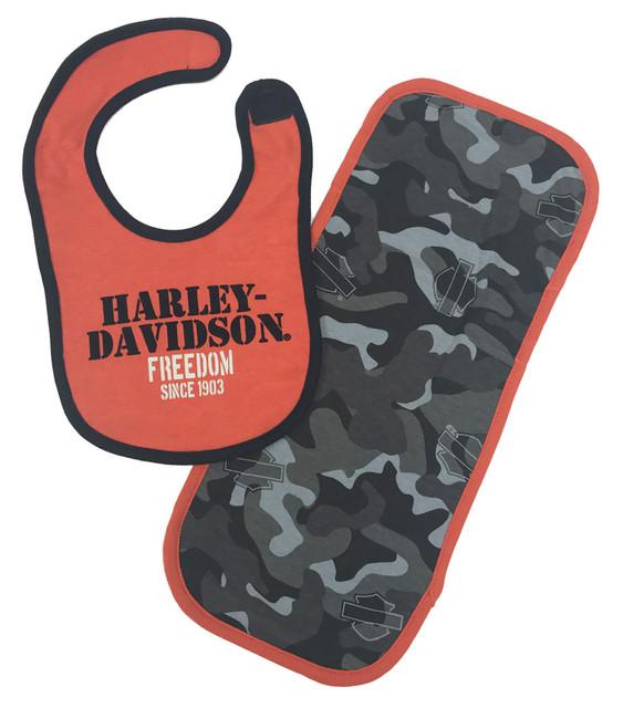 Harley-Davidson Baby Boys' H-D Camo Bib & Burp Cloth Newborn Set 7053503 - Wisconsin Harley-Davidson