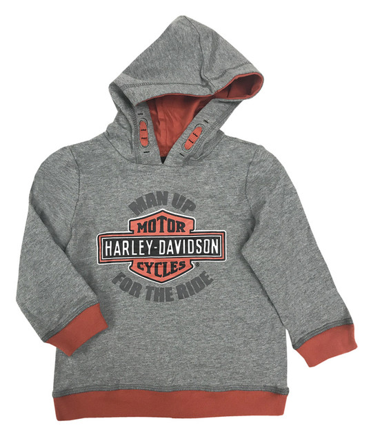 Harley-Davidson Baby Boys' Man Up Terry Infant Pullover Hoodie, Gray 6564633 - Wisconsin Harley-Davidson