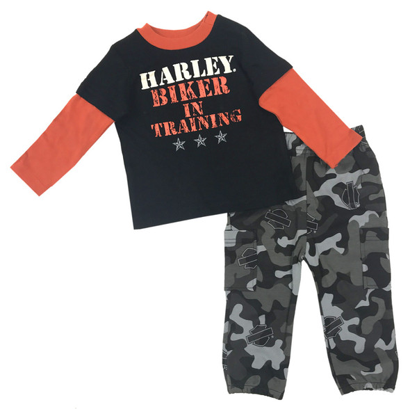 Harley-Davidson Baby Boys' Boot Camp 2-Piece Printed Interlock Pant Set 2053513 - Wisconsin Harley-Davidson