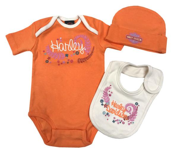 Harley-Davidson Baby Girls' Glitter 3 Piece Creeper Gift Box Set, Orange 2503645 - Wisconsin Harley-Davidson