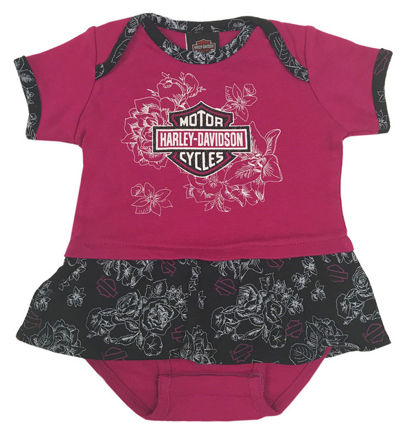 Harley-Davidson Baby Girls' Glittery Floral Peplum Infant Creeper, Pink 3014621 - Wisconsin Harley-Davidson