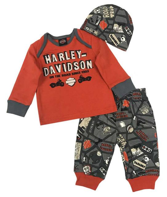Harley-Davidson Baby Boys' Road Map 3 Piece Gift Set w/ Gift Bag 2553603 - Wisconsin Harley-Davidson