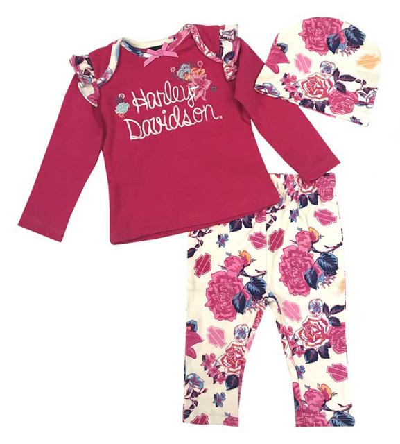 Harley-Davidson Baby Girls' Floral 3 Piece Gift Set w/ Gift Bag, Pink 2503637 - Wisconsin Harley-Davidson
