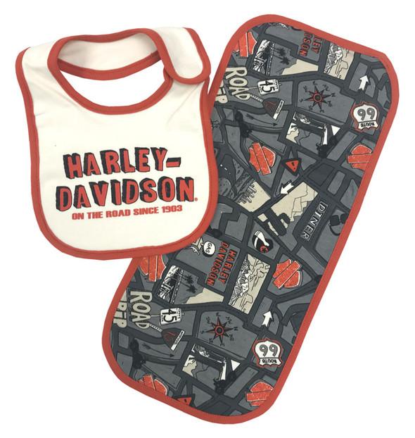 Harley-Davidson Baby Boys' Road Map Bib & Burp Cloth Newborn Set 7053605 - Wisconsin Harley-Davidson