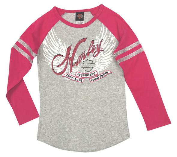 Harley-Davidson Big Girls' Glitter Raglan Long Sleeve Tee, Gray/Pink 1044541 - Wisconsin Harley-Davidson