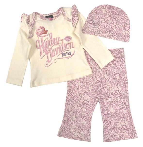 Harley-Davidson Baby Girls' Floral 3 Piece Gift Set w/ Gift Bag, Cream 2503543 - Wisconsin Harley-Davidson