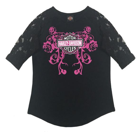 Harley-Davidson Little Girls' Glitter Jersey Top w/ Lace 3/4 Sleeves 1034601 - Wisconsin Harley-Davidson