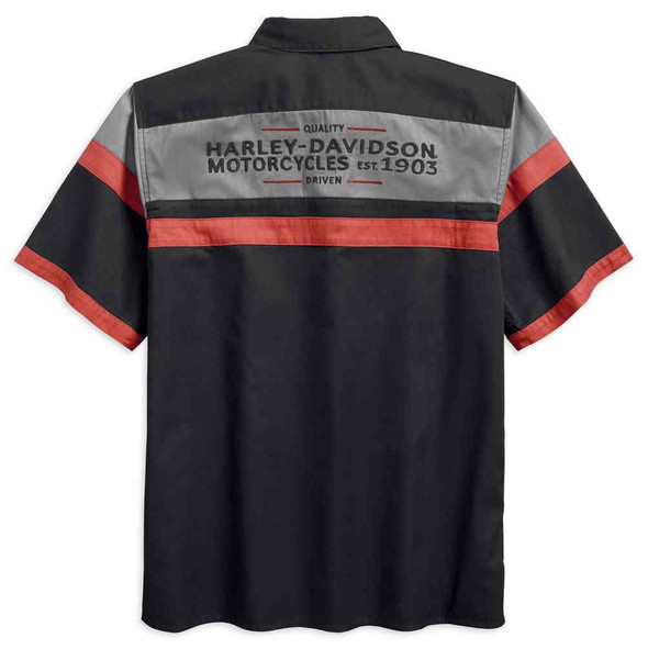 Harley-Davidson Men's H-D Colorblock Garage Short Sleeve Shirt,  Blk 96418-18VM - Wisconsin Harley-Davidson