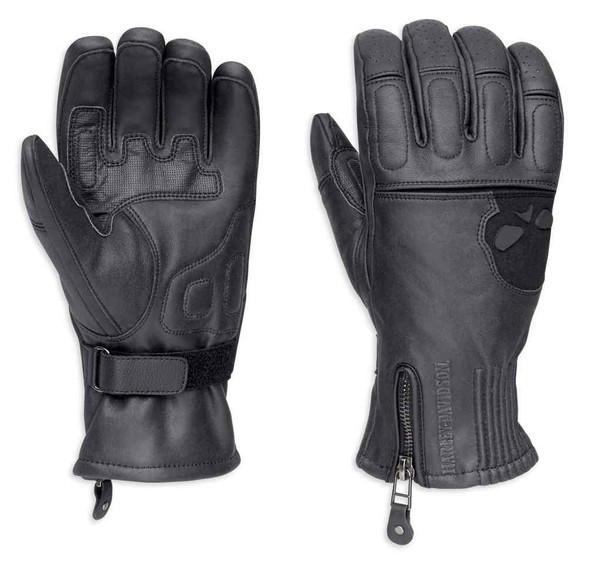 Harley-Davidson Men's Admiral Under Cuff Gauntlet Gloves, Black 98226-18VM - Wisconsin Harley-Davidson