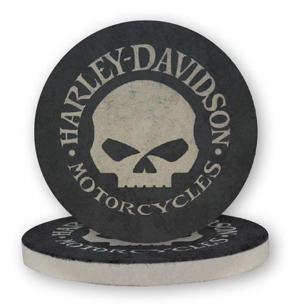 Harley-Davidson Hubcap Skull Sandstone Coaster Set, Two Pack 4 inch Set CS102988 - Wisconsin Harley-Davidson