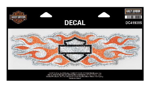 Harley-Davidson Studded B&S Flames Decal, XL 9.3125 x 2.5 in. DC419385 - Wisconsin Harley-Davidson