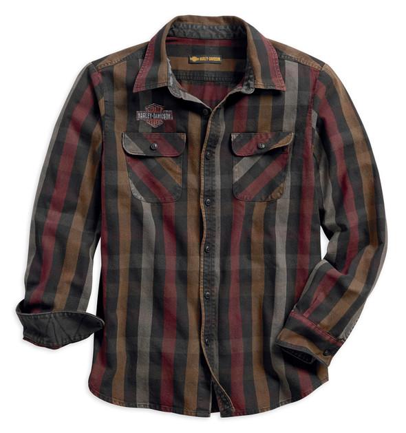 Harley-Davidson Men's Logo Over-Dyed Plaid Slim Fit Long Sleeve Shirt 99012-18VM - Wisconsin Harley-Davidson