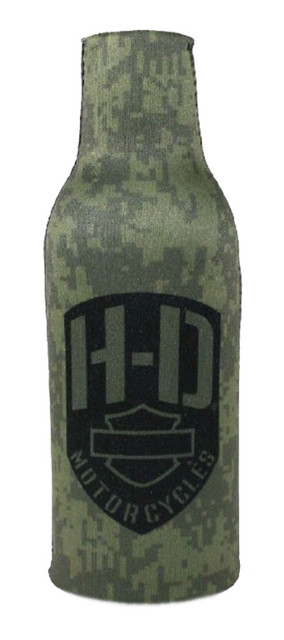 Harley-Davidson Badge & Skull Neoprene Zip Bottle Wrap, Olive Green BZ09325 - Wisconsin Harley-Davidson