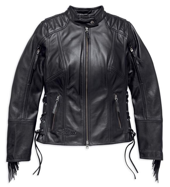 Harley-Davidson Women's Boone Fringed Leather Jacket, Black 98013-18VW - Wisconsin Harley-Davidson