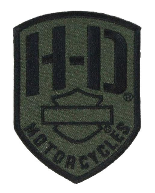 Harley-Davidson Badge H-D Emblem Patch, XS 2.375 x 3.25 inch, Olive EM475531 - Wisconsin Harley-Davidson