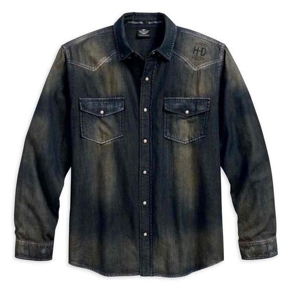 Harley-Davidson Men's Distressed Over-Dyed Long Sleeve Woven Shirt 96409-18VM - Wisconsin Harley-Davidson