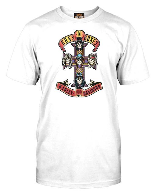 Harley-Davidson Men's Guns N' Roses AFD Cross Short Sleeve T-Shirt, Solid White - Wisconsin Harley-Davidson