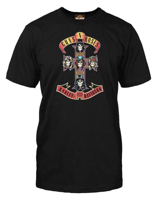 Harley-Davidson Men's Guns N' Roses AFD Cross Short Sleeve T-Shirt, Solid Black - Wisconsin Harley-Davidson