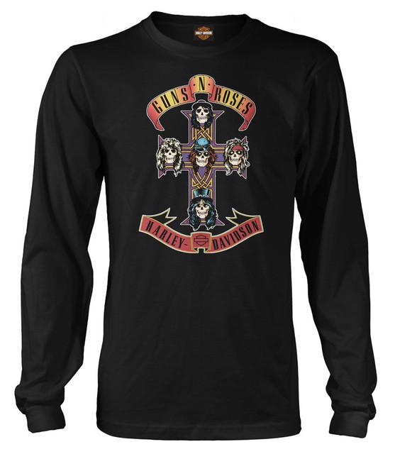 Harley-Davidson Men's Guns N' Roses AFD Cross Long Sleeve Shirt, Solid Black - Wisconsin Harley-Davidson