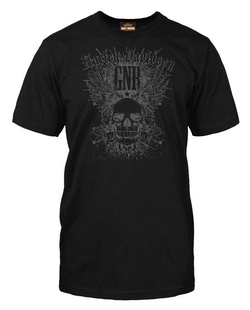 Harley-Davidson Men's Guns N' Roses Skull Card Short Sleeve T-Shirt, Solid Black - Wisconsin Harley-Davidson