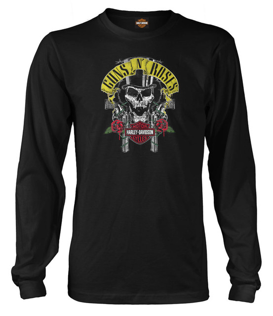 Harley-Davidson Men's Guns N' Roses Rage Top Hat Skull Long Sleeve Shirt, Black - Wisconsin Harley-Davidson