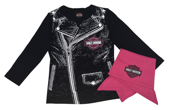Harley-Davidson Baby Girls' Biker Babe Tee & Doo Rag Infant Starter Kit 2513717 - Wisconsin Harley-Davidson