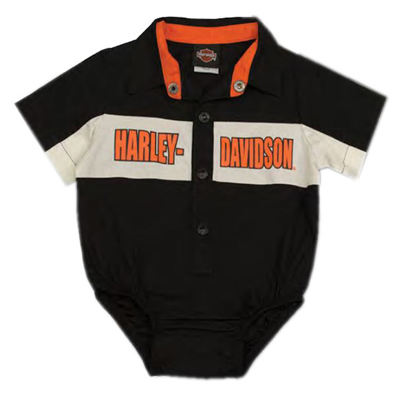 Harley-Davidson Baby Boys' Short Sleeve Woven Shop Shirt Newborn Creeper 3050783 - Wisconsin Harley-Davidson