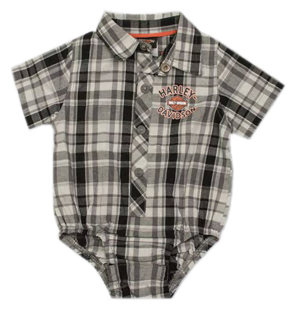 Harley-Davidson Baby Boys' Plaid Short Sleeve Woven Infant Shop Creeper 3060795 - Wisconsin Harley-Davidson
