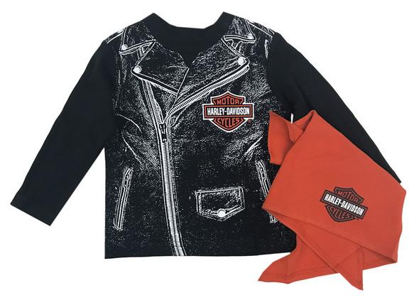 Harley-Davidson Baby Boys' Biker Dude Tee & Doo Rag Newborn Starter Kit 2553715 - Wisconsin Harley-Davidson