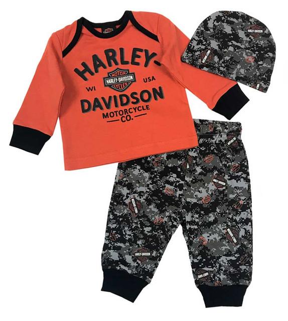 Harley-Davidson Baby Boys' Camo B&S 3 Piece Infant Gift Set w/ Gift Bag 2553709 - Wisconsin Harley-Davidson
