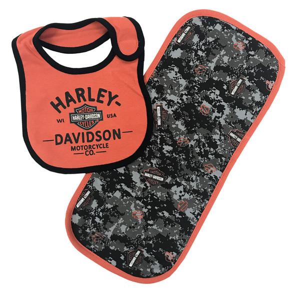 Harley-Davidson Baby Boys' H-D Digital Camo Bib & Burp Cloth Newborn Set 7053707 - Wisconsin Harley-Davidson