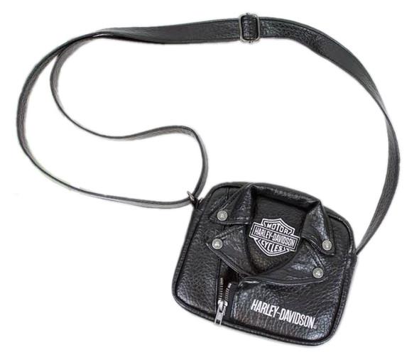 Harley-Davidson Little Girls' PU Biker Jacket Style Crossbody Bag, Black 7130762 - Wisconsin Harley-Davidson