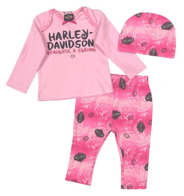 Harley-Davidson Baby Girls' Glittery 3 Piece Gift Set w/ Gift Bag, Pink 2503725 - Wisconsin Harley-Davidson