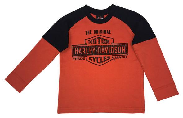 Harley-Davidson Little Boys' Interlock Double Long Sleeve Shirt, Orange 1083755 - Wisconsin Harley-Davidson