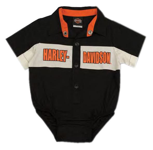 Harley-Davidson Baby Boys' Short Sleeve Woven Shop Shirt Infant Creeper 3060783 - Wisconsin Harley-Davidson